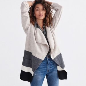 Madewell Meridian Color block wool sweater coat
